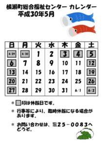 休館日カレンダー(掲示・チラシ)H30.5のサムネイル