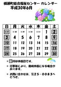 休館日カレンダー(掲示・チラシ)H30.6のサムネイル