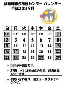 休館日カレンダー(掲示・チラシ)H30.9のサムネイル