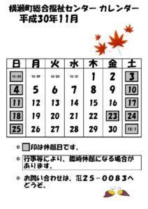 休館日カレンダー(掲示・チラシ)H30.11のサムネイル